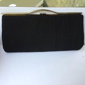 Vintage Rough Silk 50/60s Black Evening Clutch Bag